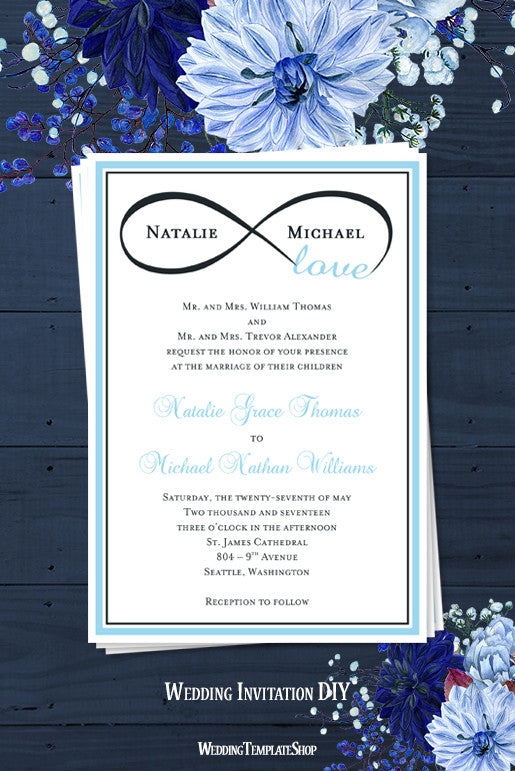 infinity love wedding invitation sky blue charcoal gray