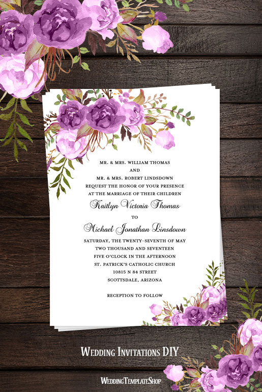 Printable Wedding Invitation Romantic Blossoms Make Your Own DIY - Wedding invitation templates with photo