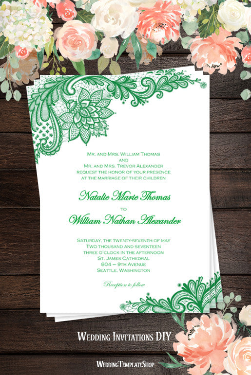 vintage lace wedding invitation emerald green wedding template shop