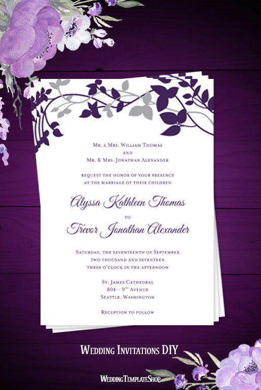 Forever entwined wedding invitation purple eggplant silver