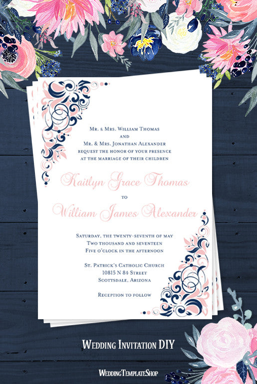 gianna wedding invitation blush pink navy blue