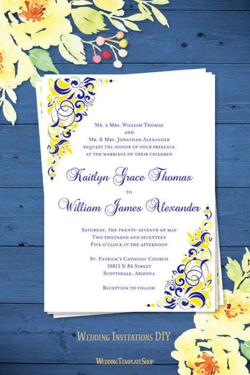 Gianna Wedding Invitation Royal Blue Lemon Yellow - Wedding ...