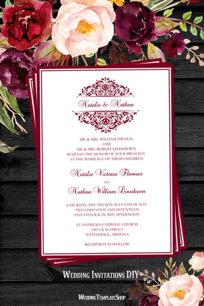 Grace Wedding Invitation Burgundy Cranberry Wine