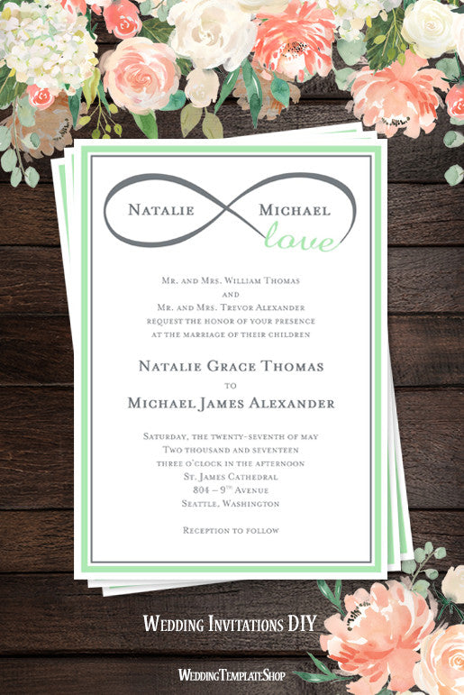 Infinity Love Wedding Invitation Mint Green Gray Wedding Template Shop