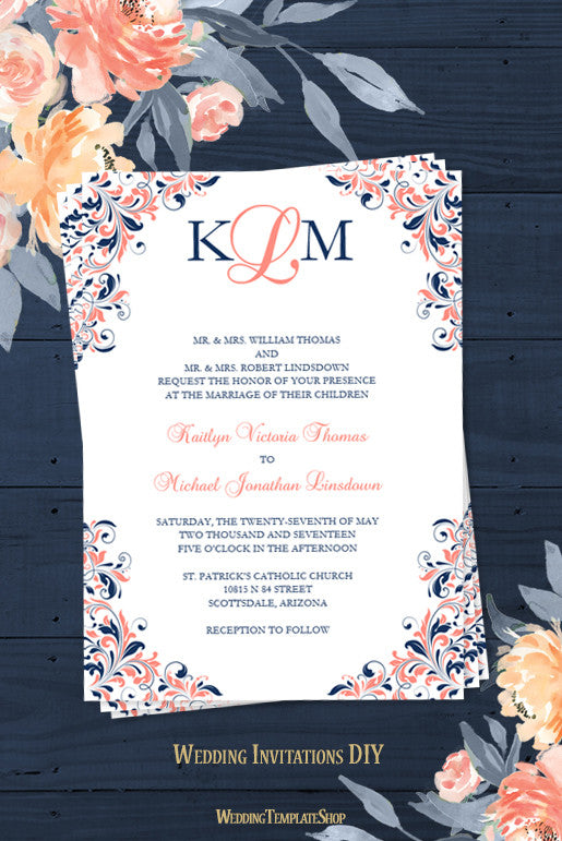 Kaitlyn wedding invitation coral navy