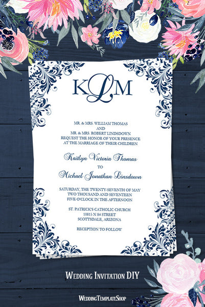 Wedding Invitations Templates Kaitlyn Navy Blue