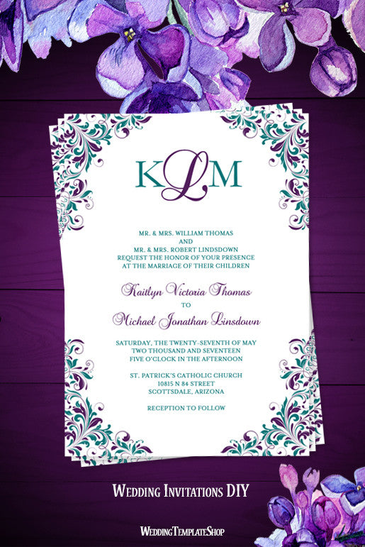 kaitlyn wedding invitation peacock purple teal wedding template shop