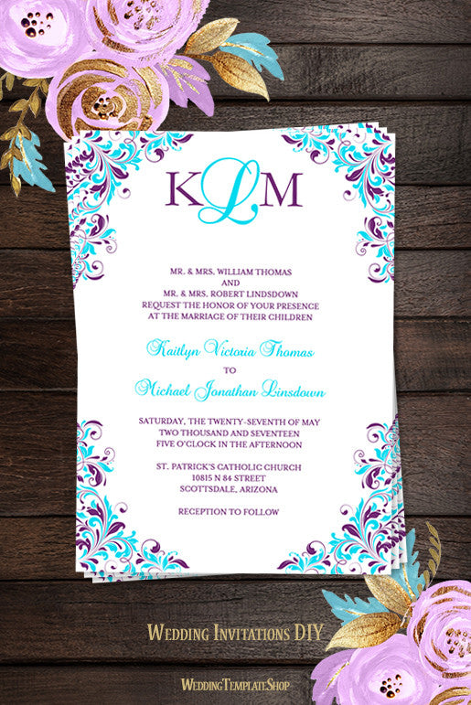 Wedding invitation template kaitlyn purple turquoise