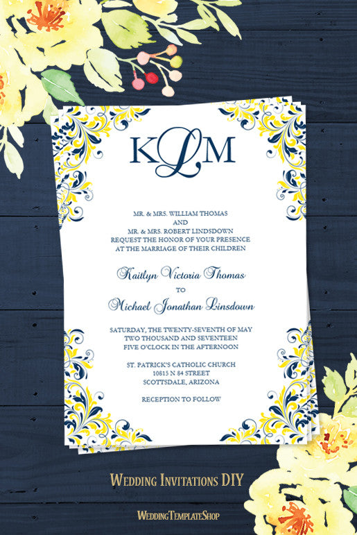 Kaitlyn Wedding Invitation Navy Blue Yellow - Wedding Template Shop