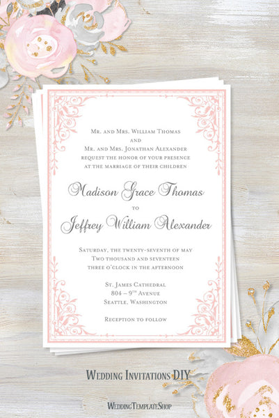 Maria Wedding Invitation Light Pink