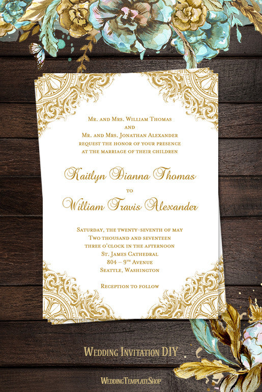 Vintage wedding invitation gold wedding template shop wedding invitations templates vintage gold junglespirit Image collections