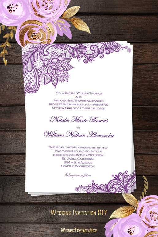 Vintage Lace Wedding Invitation Purple - Wedding Template Shop