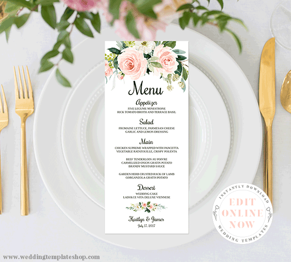 Wedding Menu Card TeaLength Blush Florals Edit Online, Download, Print