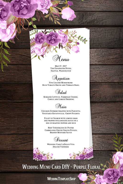 wedding menu card romantic blossoms purple printable diy wedding