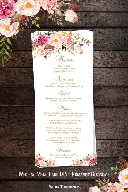 Wedding Menu Card Romantic Blossoms Tea Length Printable ...