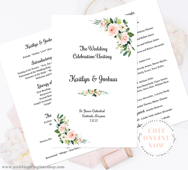 Catholic Wedding Program Blush Florals Edit Online, Download, Print