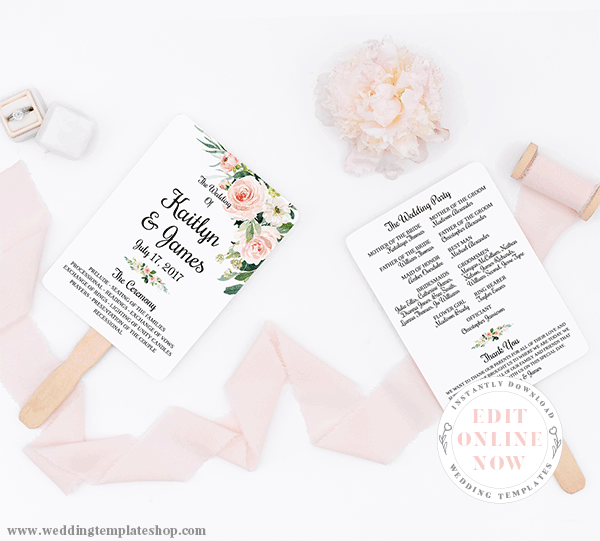 Wedding Program Fan Blush Florals Edit Online Now, Download and Print