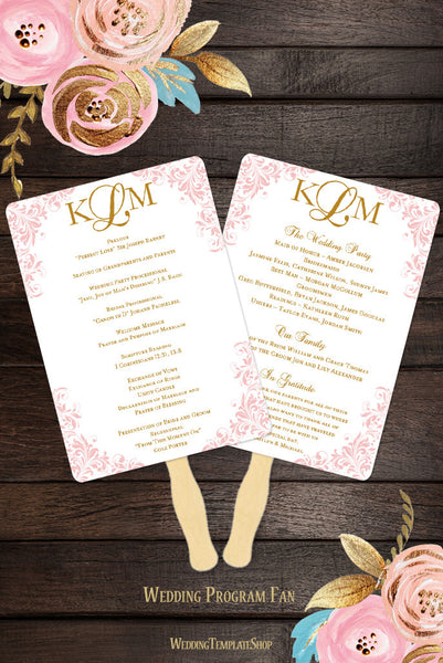 Wedding Program Fan Kaitlyn Blush Pink Gold Monogram
