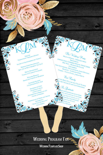 Wedding Program Fan Kaitlyn Malibu Blue Black Monogram