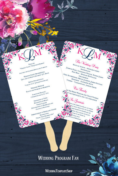 Wedding Program Fan Kaitlyn Navy Blue Hot Pink Monogram