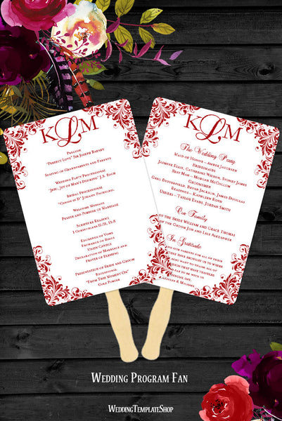 Wedding Program Fan Kaitlyn Red Monogram