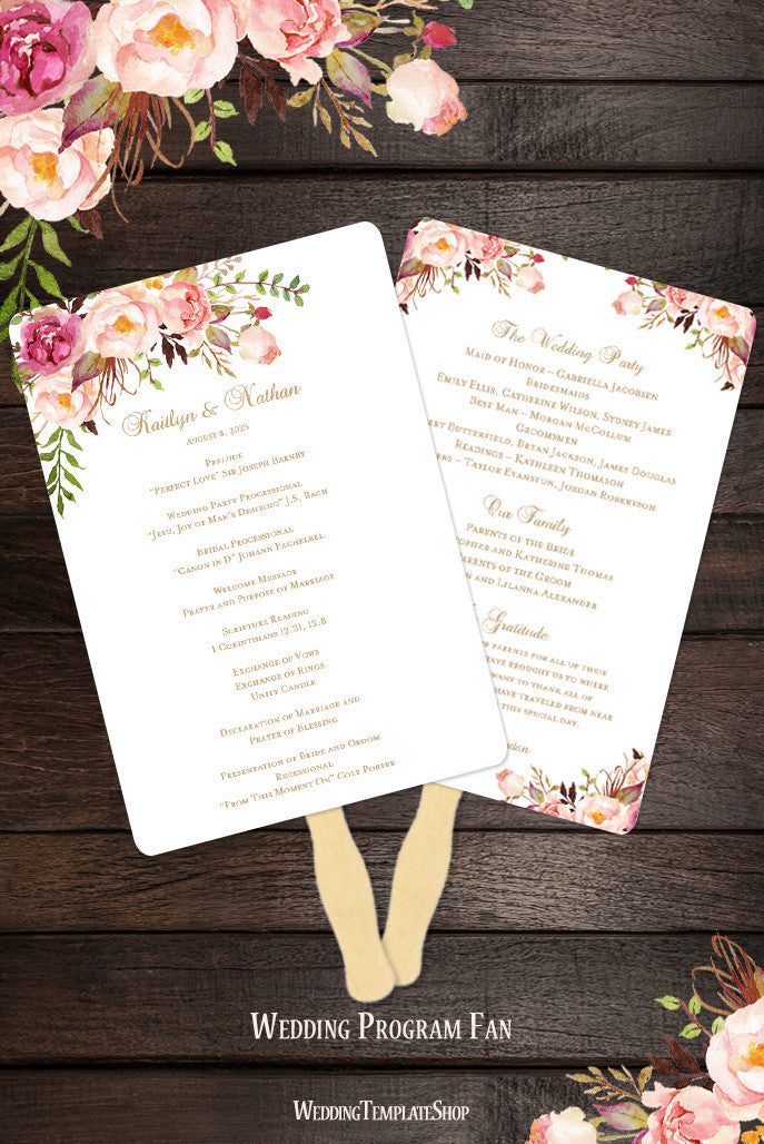 Wedding Program Fan Romantic Blossoms Diy Ceremony Program  Wedding