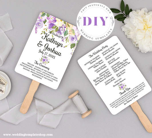 Wedding Program Fan Purple Florals Edit Online Now, Download and Print