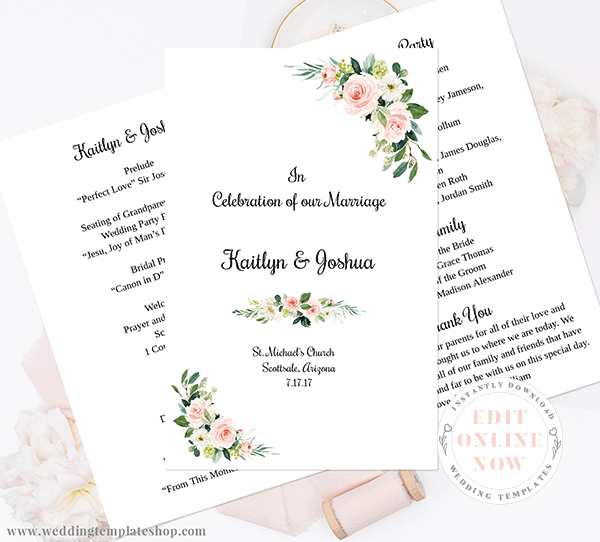Wedding Program Foldover Blush Florals Edit Online, Download, Print