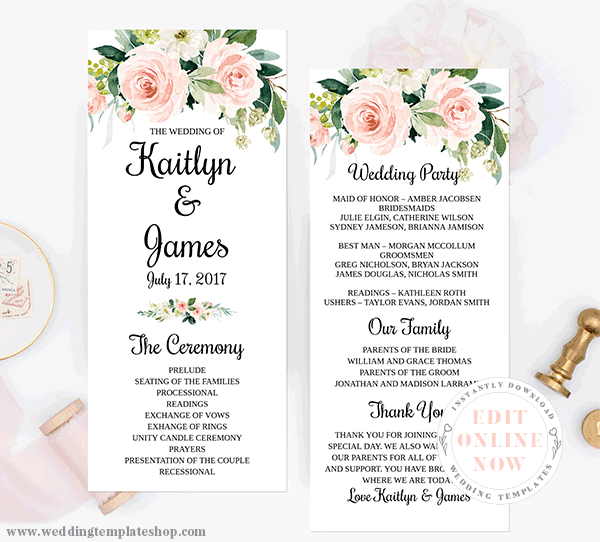 Wedding Program Tea Length Blush Florals Edit Online, Download, Print