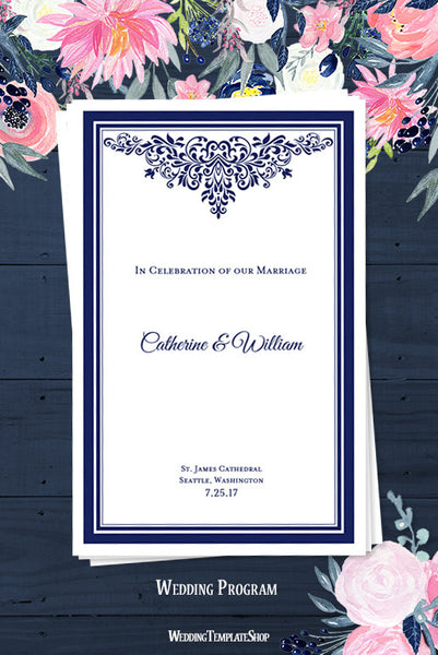 Wedding Program Template Anna Maria Navy Blue