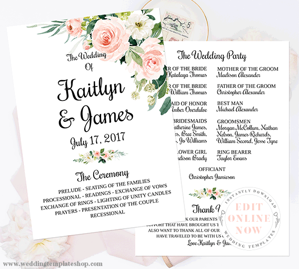 Wedding Program Template Blush Florals Edit Online, Download and Print