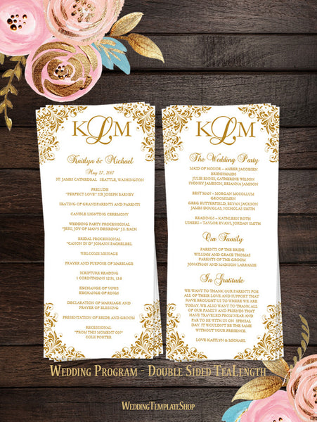 Slim wedding programs tea length order of service wedding template slim wedding program kaitlyn gold solutioingenieria Image collections
