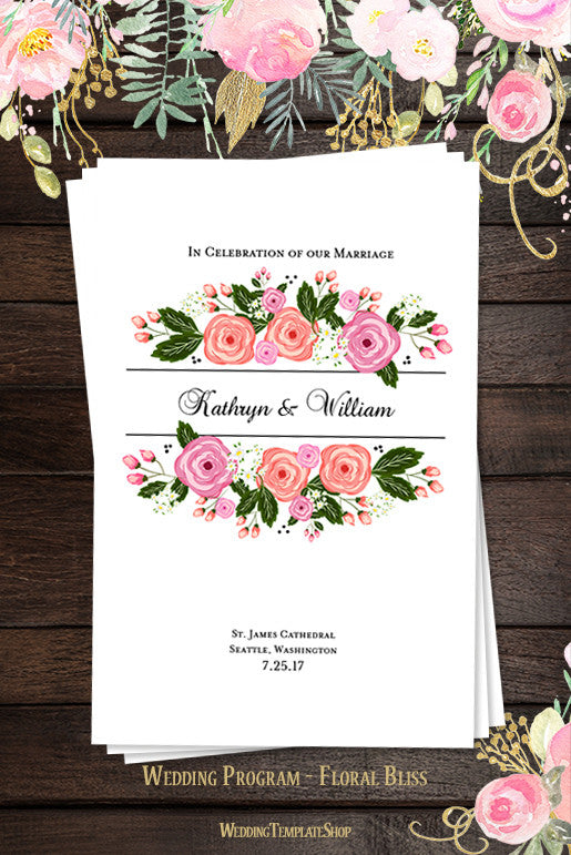 Wedding Program Template Floral Bliss Summer Garden Wedding - Floral wedding program templates