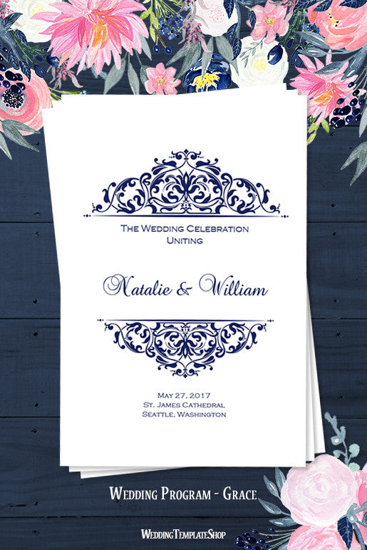 Wedding Program Template Grace Navy Blue  Wedding Template Shop