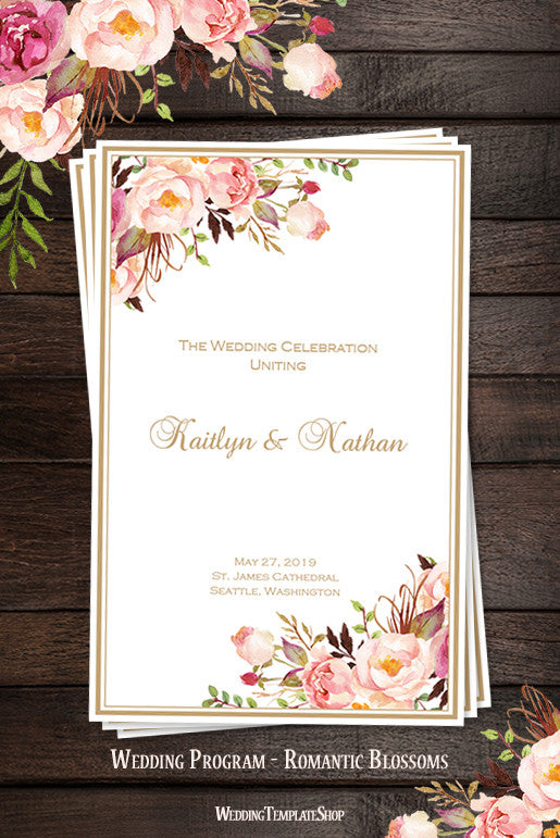 Wedding Program Template Romantic Blossoms Diy Printable  Wedding