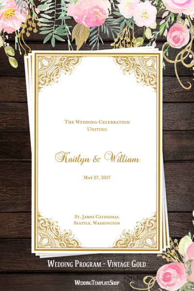 Wedding Program Template Vintage Gold