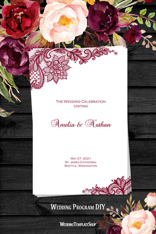 Wedding Program Template Vintage Lace Burgundy  Wedding Template Shop