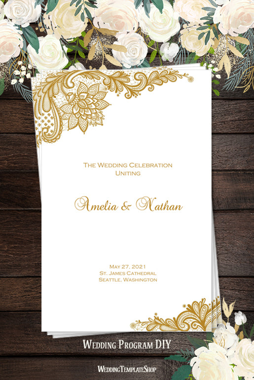 Wedding Program Template Vintage Lace Gold Shop