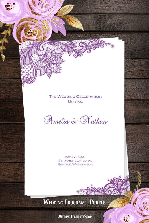 Wedding Program Template Vintage Lace Purple