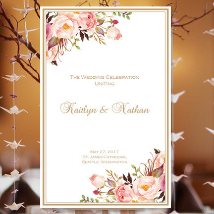 wedding program template romantic blossoms diy printable. Black Bedroom Furniture Sets. Home Design Ideas