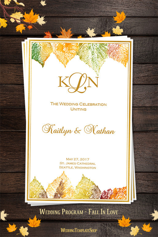 Wedding Program Template Fall In Love Autumn Colors