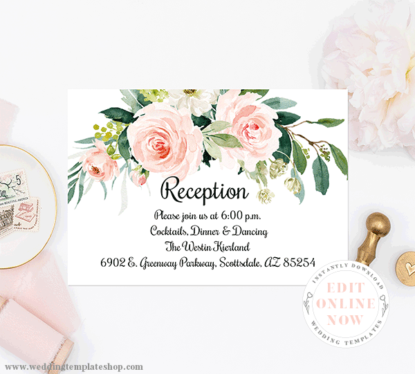 Wedding Reception Insert Blush Florals Edit Online, Download and Print