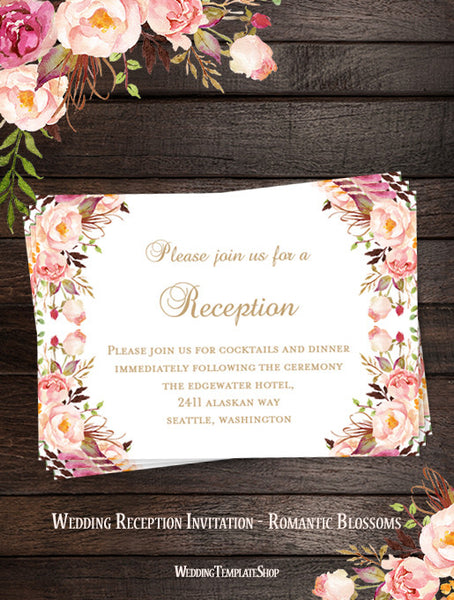 wedding reception invitations printable diy templates