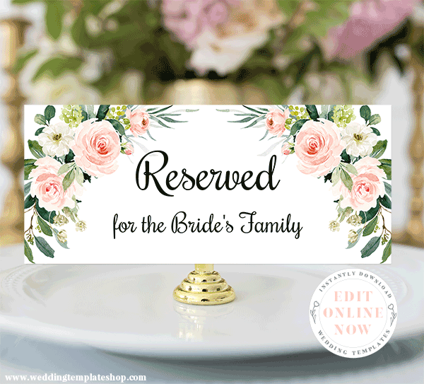Wedding Reception Reserved Sign Blush Florals Edit Online Now Download