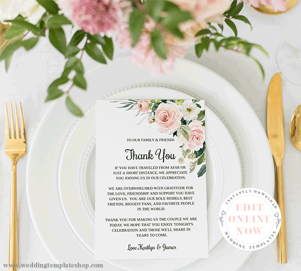 Wedding Reception Thank You Cards Blush Florals Edit Online and Print