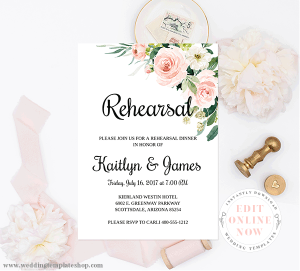 Wedding Rehearsal Invitation Blush Florals Edit Online, Download,Print