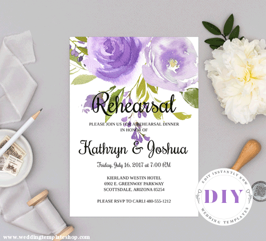 Wedding Rehearsal Invitation Purple Florals Edit Online, Download,Print