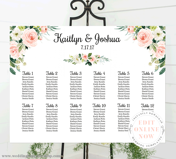 Wedding Seating Chart Poster Landscape 24x18 Blush Florals Edit Online Wedding Template Shop