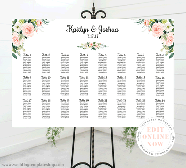 Wedding Seating Chart Poster Landscape 36x24 Blush Florals Edit Online