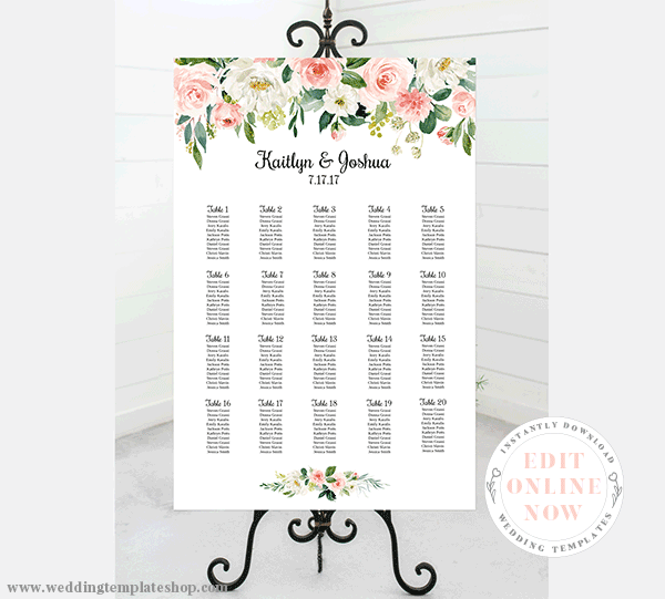 Wedding Seating Chart Poster Portrait 24x36 Blush Florals Edit Online